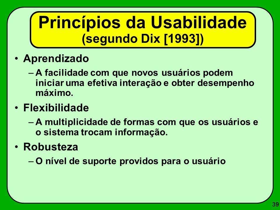 Princípios da Usabilidade (segundo Dix [1993])